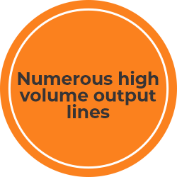 Numerous high volume output lines